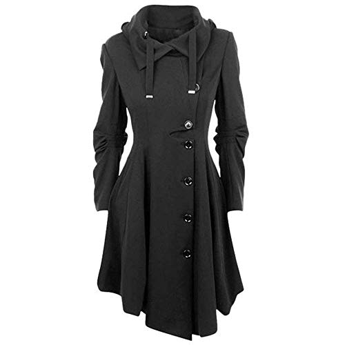 Automne Outerwear Coat Trench Button Printemps Couleur Longues Asymmetric Manteau Croises Femme Vintage Capuchon Sangles Classique Gothique Multicouche Fashion breal Casual Unie Parka Schwarz Manches BY61fAB