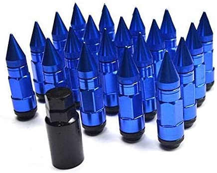 W-Shufang-Nuss Car Styling Radmuttern M12X1.5 M12X1.25 Racing Composite Mutter Diebstahlsicherung Stahl Radmutternschraube Mit Spikes Rot Blau Schwarz Color : Blue, Size : M12x1.5