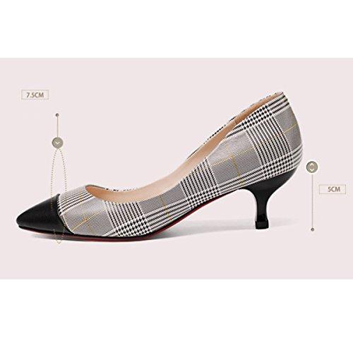 Frauen Elegante Spitze Zehen Pumps Slip On Kätzchen Heels Für Hochzeit Büro Stiletto Schuhe Beige