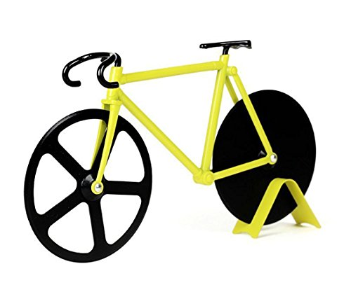Bicycle Pizza Cutter - Bike Pizza Cutter - Dual Stainless Steel Non-Stick Cutting Wheels - Display Stand - Pizza Cutter (Bike Pizza Cutter Fixie)