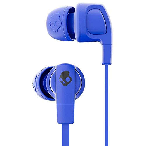 Skullcandy Smokin' Buds 2 Noise Isolating Earbuds with in-Line Microphone and Remote, Moisture Resistant, Oval-Shaped and Angled for Long-Term Comfort, Street/Royal Blue/Dark Blue