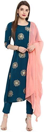 Janasya Indian Tunic Tops Crepe Kurti Set with Dupatta for Women