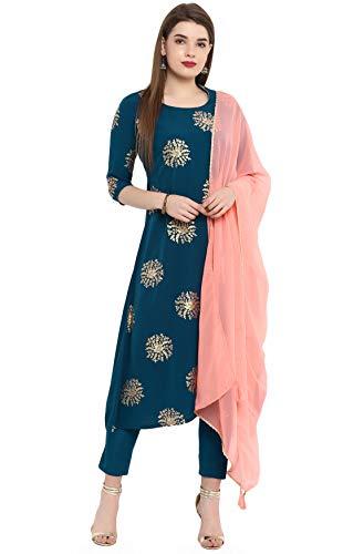 Janasya Indian Tunic Tops Crepe Kurti Set with Dupatta for Women (SET058-KR-NP-XS) Turquoise