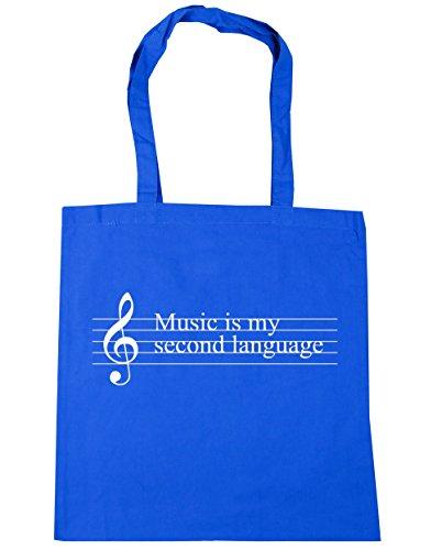 HippoWarehouse música es mi segunda lengua Tote Compras Bolsa de playa 42cm x38cm, 10litros, natural (beige) - 21403-TOTE-Natural Cornflower Blue