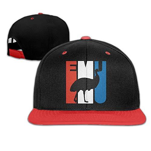Retro Emu Silhouette Unisex Hip-Hop Flat Bill Snapback Hats Contrast Color Baseball Caps for Women Men - Hat Emu
