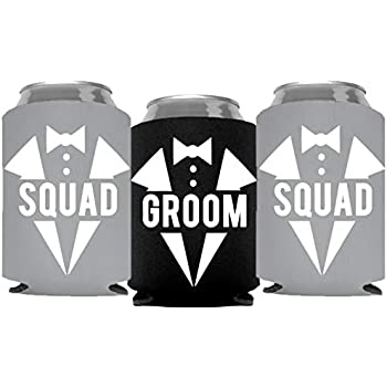 80a47ae770 Groom and Grooms Squad Bachelor Party Can Coolers, Set of 12 Beer Can  Coolies, Perfect Bachelor Party Decorations and as Grooms Men Gifts (Grey)