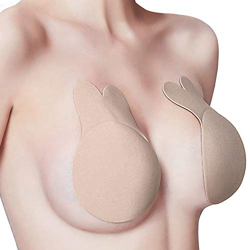 Rusee Sticky Bra Push up for USA Women DD/DDD Cup,2 Pairs Beige,Nipplecovers Invisible Adhesive Strapless Backless Bras Lift for Large Breasts