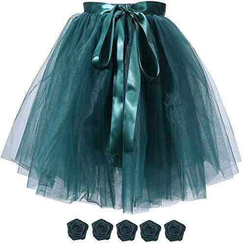 Women's Solid A Line High Waist Princess Tulle Skirt Grils's Tutu Skirt Dance Tutu Flowers for DIY Dark Green -