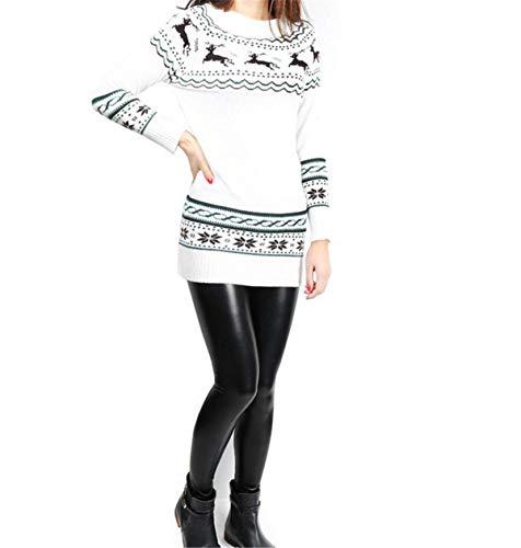 Slim Moda Casual Vestito Lunga Tops Eleganti Pullover Bianca Corto Invernali Lana Pattern Manica Maglie Vestiti Stampati Autunno Women Skinny Giovane Fit Donna Maglione wpOXPqn