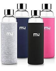 MIU COLOR 360ml/550ml Bouteille d'Eau en Verre Borosilicate - Housse Anti-échaudage en Néoprène Écologique sans BPA, PVC et Plomb