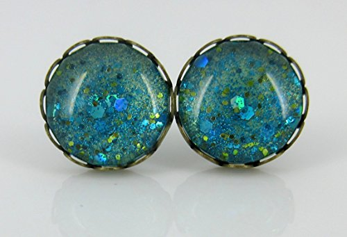 Antiqued Gold-tone Seafoam Green and Blue Glitter Glass Stud Earrings Hand-painted 12mm (Sea Glass Bezel)