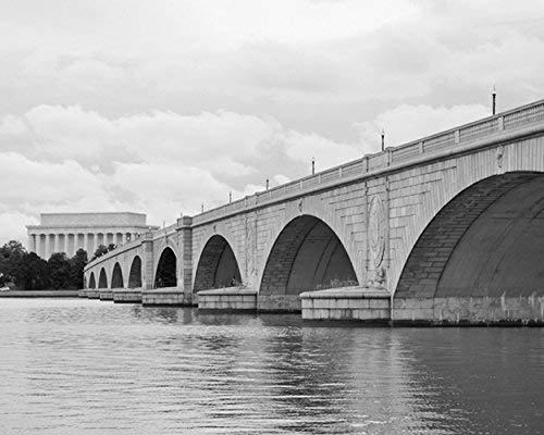 Black and White Washington DC Art, Lincoln Memorial Bridge, Arc Bridge Picture, Potomac River, DC Architecture Photography Print, DC Wall Decor