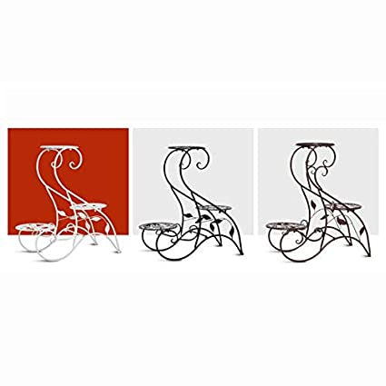 Soporte de Flores Multicapa de Hierro Forjado Soporte de Flores de pie balc/ón Interior Estante para macetas de Tres Colores Opcional CHFYG Color : Brass