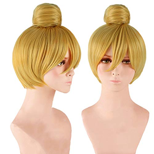 Anogol Hair Cap+ Women Short Straight Cosplay Costume Wig for Halloween Party Hair Gold Blonde]()