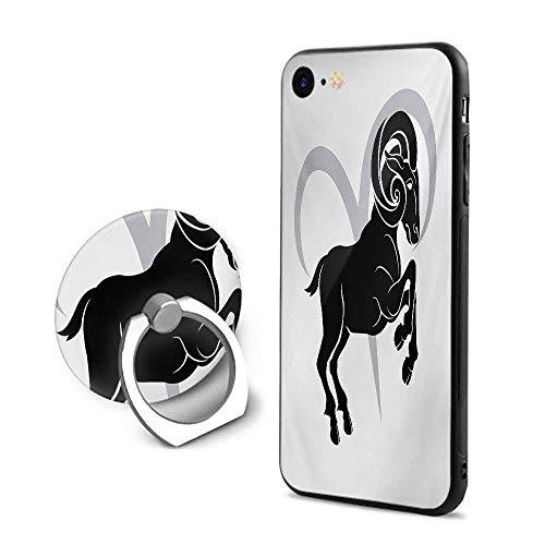 Zodiac Aries iPhone 6 Plus/iPhone 6s Plus Cases,Black Silhouette of a Astrological Animal Standing on Grey Sign Black Pale Grey and White,Design Mobile Phone Shell Ring Bracket