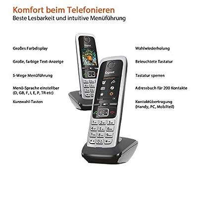 Gigaset C430HX Duo – 2 schnurlose IP-Telefone (zum Anschluss an Router oder Basisstationen - klassische Mobilteile mit Farbdisplay und HD-Voice) schwarz-silber 4