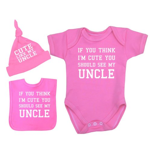 BabyPrem Baby If You Think I'm Cute See My Uncle Bodysuit Set 0-12 mth PINK NB