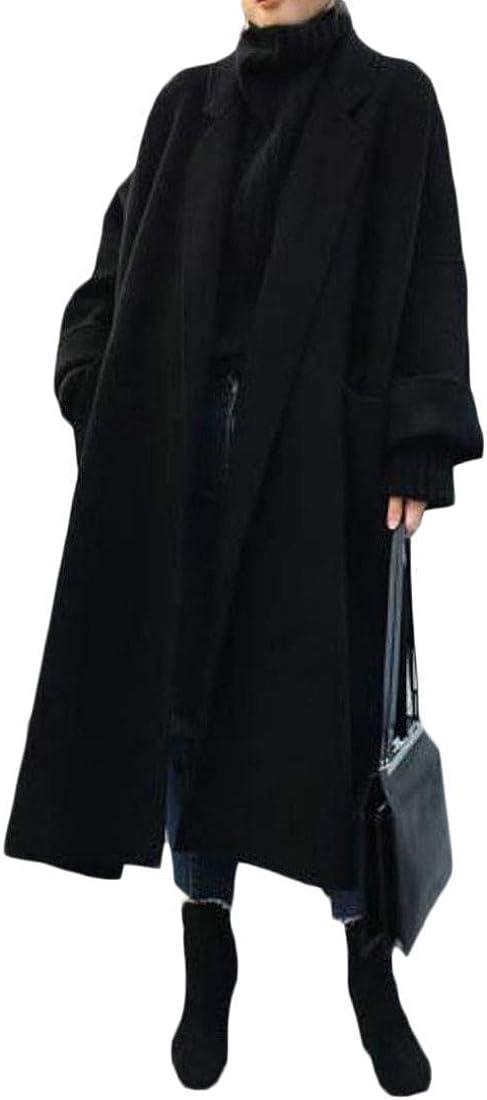 Bigbarry Womens Loose Fit Plus Size Fall Winter Overcoat Woolen Long Jacket Coat