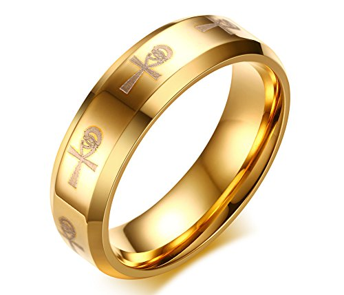 PJ Jewelry Mens Stainless Steel Ancient Egyptian Eternal Life Eye of Horus Ankh Corss Wedding Band Ring