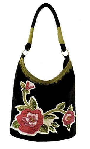 maggi-b-soft-touch-black-velour-rose-applique-hobo-tote-bag