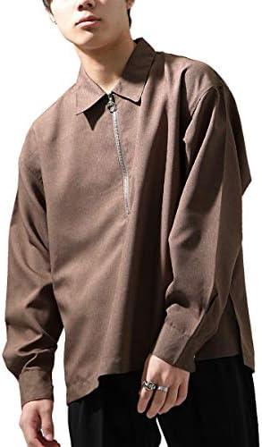 ポリシャンブレー長袖ハーフジップシャツ br4052