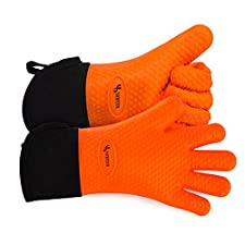 YOHEER Silicone Oven Mitts, Extra-long Quilted Cotton Lining,Heat Resistant Kitchen Potholder Gloves for Oven,Outdoor BBQ Grill,Fireplace Camping,Kitchen and so on.- 1 Pair (Orange)