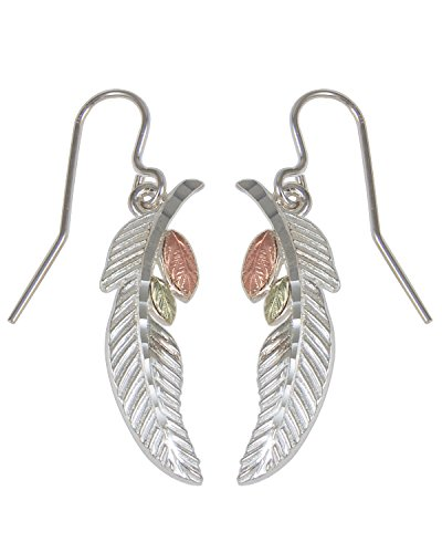Sterling Silver Feather and Leaf Black Hills Gold Motif Earrings by The Men's Jewelry Store (for HER)