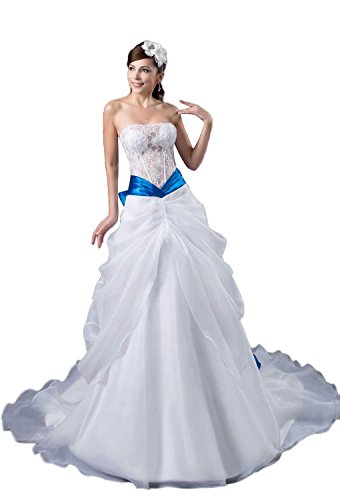 Angel Formal Dresses Womens Strapless Ruffle Organza Lace Wedding Dress For Bride(18,White)