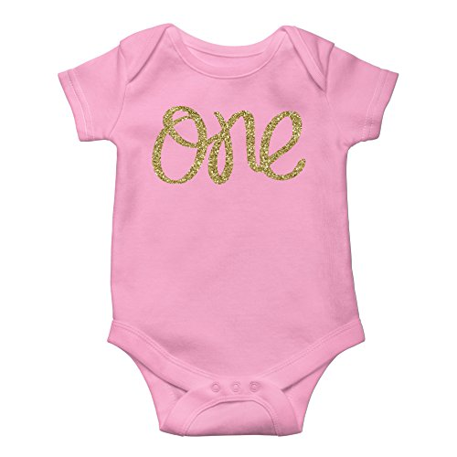 thday Bodysuit Sparkly Gold One Girls 1st Birthday Outfit ()