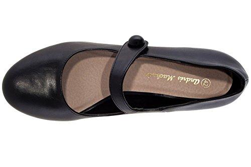Andres Machado Damen Pumps Mary Jane Stil - Schwarz Schuhe in Übergrößen