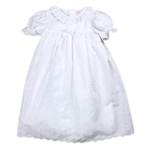 Petit Ami Baby Girls' Lace Scalloped Edge Christening Gown, 12 Months, White