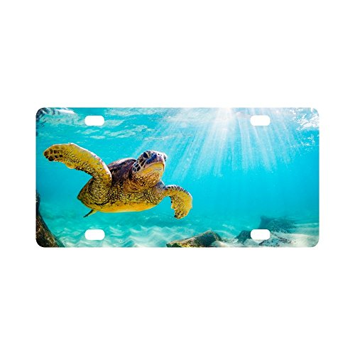 (INTERESTPRINT Hawaiian Green Sea Turtle in The Sea Water Metal License Plate for Car, Car Tags Cover for Woman Man - 12
