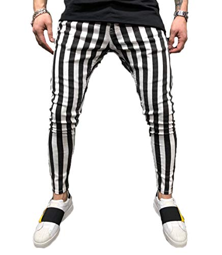 Men's Long Casual Sport Pants Slim Fit Plaid Trousers Running Joggers Sweatpants (M, Stripe) ()