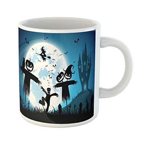 Tinmun 11 Oz Coffee Mug Blue Festival Halloween Full Moon on Dark Night Many Decor Lover Funny Mug Birthday Gift Coffee Tea Cup Mugs ()