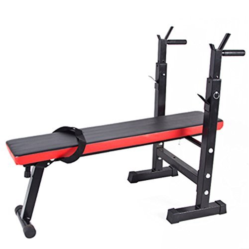 Homgrace Weight Bench Folding Multifunctional Sit Up Bench Dip Station with Adjustable Barbell Rack, Training Bench for Lifting Chest Press Exercise Home Gym (black/red) JZCUK01