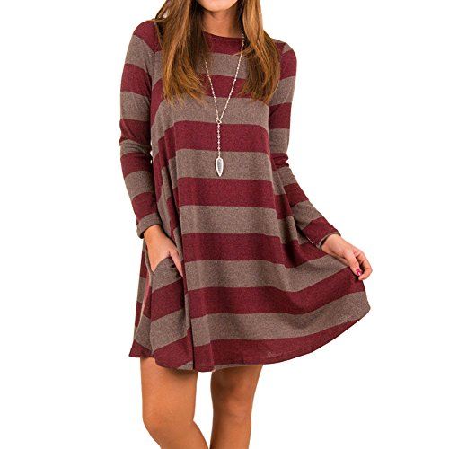 Long Wine Casual Loose TM Dress Women Tunic Swing Shirt Striped BetterGirl Sleeve With Pocket 1xOYd