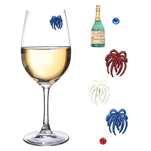 Magnetic Wine Glass Charms for 4th of July , Patriotic Celebrations , Hostess Gifts ~ Set of 6 Wine Markers Tags Great for Stemmed or Stemless Wine Glasses by Simply (Chardonnay 4 Glasses)