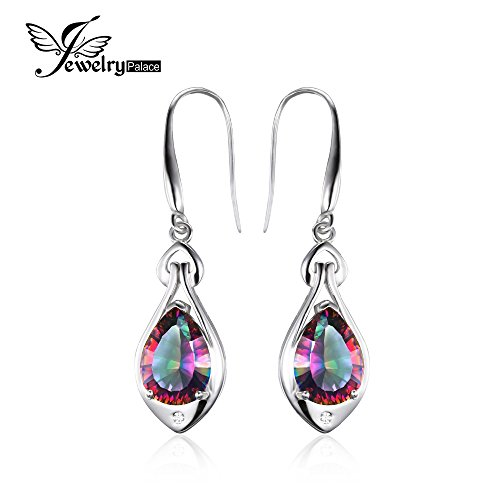(Water Drop 6.7ct Genuine Rainbow Fire Mystic Topaz Dangle Earrings Pure 925 Sterling Silver Fine Jewelry For Women)