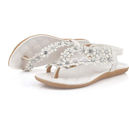 Strap Toe Flower Rhinestone Bling Sandal Lovely White for Flip Flats Non Slip Women Sweet Summer Elastic Sandals Clip Shoes Bohemia Saingace Flops Beach Women's Bling vPAOfnnqa