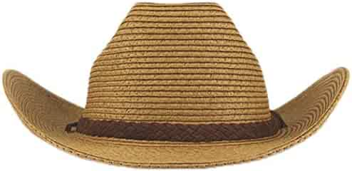 04df96280cf02 Straw Western Cowboy Hat Vintage Outback Wide Brim Sun Hat with Belt Buckle  and Strap