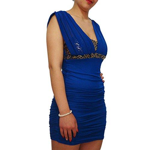 mywy - vestito donna mini abito party vestitino cerimonia paillettes elegante festa