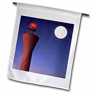 Danita Delimont - Moons - Spain, Teneriffe, Santa Cruz, Lighthouse, full moon - EU27 RYO0207 - Russell Young - 12 x 18 inch Garden Flag (fl_82581_1)