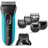 Braun Series 3 3010BT W&D - Afeitadora eléctrica para hombre, máquina de afeitar barba 3 en 1 con recortadora de precisión, azul