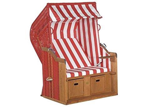 Sunny Smart Strandkorb Rustikal 250 Basic Stoff-Nr. 300, Halbliegemodell Außenmaß (B x T): 125 x 90 cm Gesamthöhe: 160 cm Geflecht: Kunststoffgeflecht rot Ausführung: Halbliegemodell Stoff: Nr. 300, rot-weiß gestreift