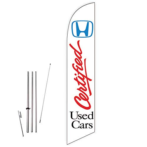 Cobb Promo Feather Flag (White) for Honda Certified Used Cars Dealers with Complete 15ft Pole kit and Ground Spike
