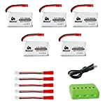 Noiposi 5pcs 3.7V 750mAh 25C Lipo Battery JST Plug with X6 Charger for Syma X56W MJX X400w X300 X300C X500 X800 National Geographic Sky Viper S670 V950 Akaso K88 RC Quadcopter Drone
