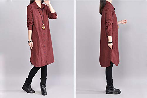 Rouge Carreaux Taille Moyen Longues Chemisier Fond Chemise Femme Blouses Manches Grande Elonglin Long et E6HwOIqxR