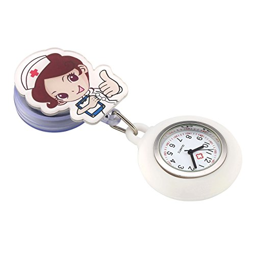 Top Plaza Girls' Kid's Cute Lovely Cartoon Angel Silicone Nurse Clip-on Fob Brooch Hanging Easy Pull Clasp Stretch Analog Quartz Pocket Watches,Set of 3#1 by Top Plaza (Image #4)