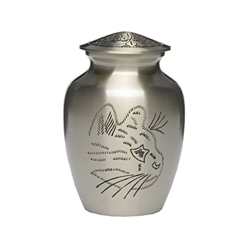 - Hand Engraved Kitty Solid Pewter Cremation Urn - Small - B-2339-S 30 cubic inch 30 lb