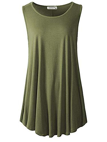 iGENJUN Women's Summer Sleeveless Swing Tunic Casual Floral Flare Tank Tops,Army Green,XXXL ()